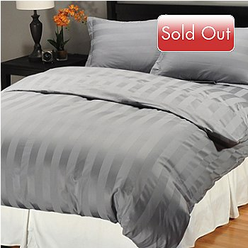 401-416 - North Shore 500TC Egyptian Cotton Wide Damask Stripe Three-Piece Duvet Set