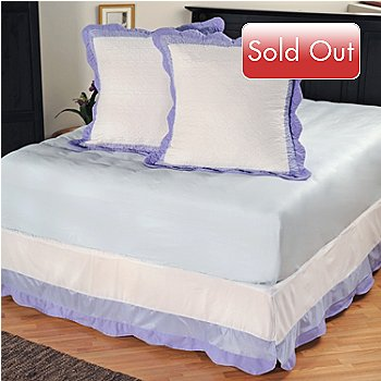 401-589 - North Shore[ ''Misty Vine'' Quilted Cotton Euro Sham Pair & Bed Skirt Set