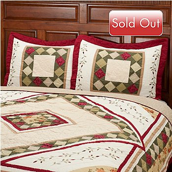 401-798 - North Shore[ ''Woodbury'' Diamond Motif 100% Cotton Sham Pair