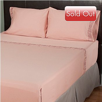 401-912 - North Shore Linens™ 300TC Cotton Four-Piece Embroidered Sheet Set