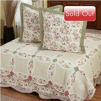 402-029 - North Shore™ Collectible Quilts ''Romance Wedding'' Three-Piece Euro Sham Pair & Bed Skirt