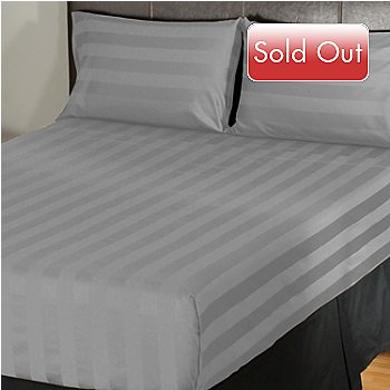402-109 - North Shore Linens[ 500TC Egyptian Cotton Wide Damask Stripe 4-Piece Sheet Set