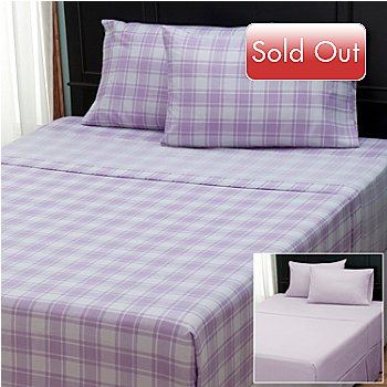 402-143 - Cozelle® ''Check'' Microfiber Set of Two Four-Piece Sheet Sets