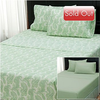 402-149 - Cozelle® ''Nouveau Paisley'' Set of Two Microfiber Four-Piece Sheet Sets