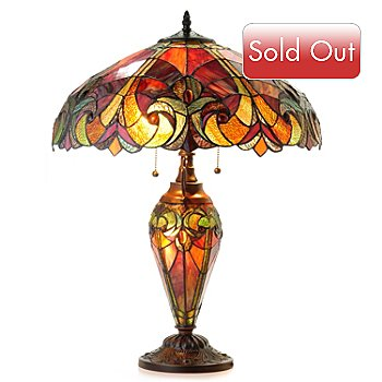 402-606 - Tiffany-Style 25'' Halston Stained Glass Double-Lit Table Lamp