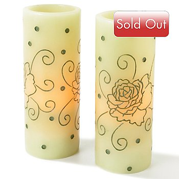 403-500 - Enchantment™ Scented Rose Pattern Flameless Candles - Set of Two
