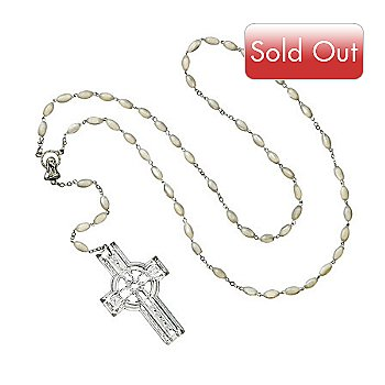 404-496 - Waterford® Crystal ''Celtic'' Mother-of-Pearl Beads Rosary w/ Crystal Cross