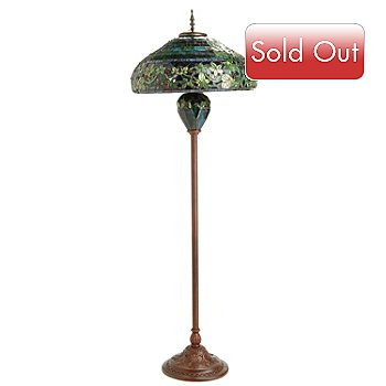 405-121 - Tiffany Style 65'' Hampstead Stained Glass Double Lit Floor Lamp