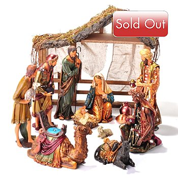 405-161 - Thomas Pacconi Classics Limited Edition Hand Painted 13-Piece Nativity Scene