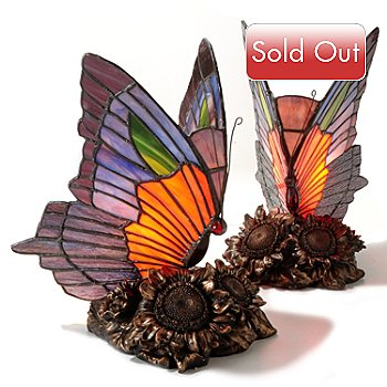 405-265 - Tiffany Style Set of Two Dalla Stained Glass Butterfly Table Lamps