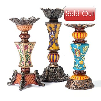405-469 - Style at Home with Margie Kendall Set of Three Candle Holders