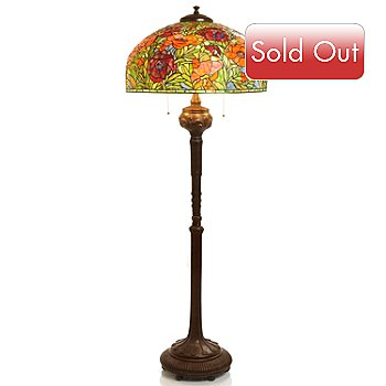 405-646 - Tiffany-Style 68'' Oriental Poppy Stained Glass Floor Lamp