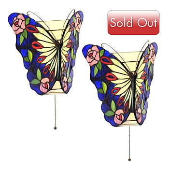 405-649 - Tiffany-Style 10.25'' Butterfly Rose Stained Glass LED Wall Sconces