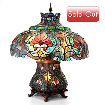 405-652 - Tiffany Style 21.5'' Ruby Ribbon Double Lit Stained Glass Table Lamp