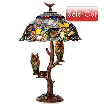 405-856 - Tiffany Style 28.5'' Parliament Triple Lit Stained Glass Table Lamp