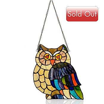 405-857 - Tiffany Style 14'' Hoot Owl Stained Glass Window Panel