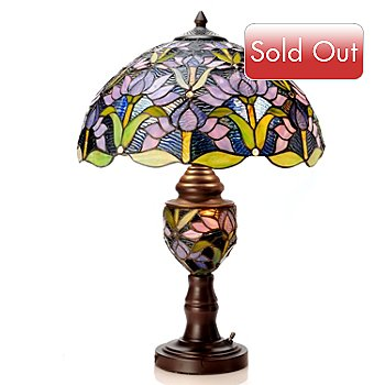 405-858 - 23'' Blooming Lotus Double-Lit Stained Glass Table Lamp
