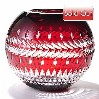 405-928 - Waterford® Crystal Fleurology Meg Ruby Red Rose 12'' Rose Bowl - Signed
