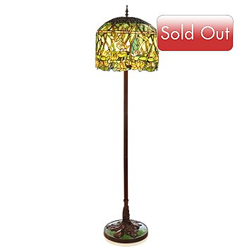 405-960 - Tiffany Style 65'' Grand Lotus Stained Glass Floor Lamp