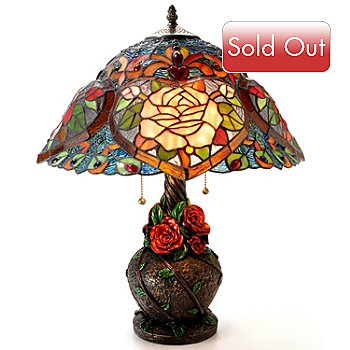 406-003 - Tiffany Style 22'' Heart of Roses Stained Glass Table Lamp