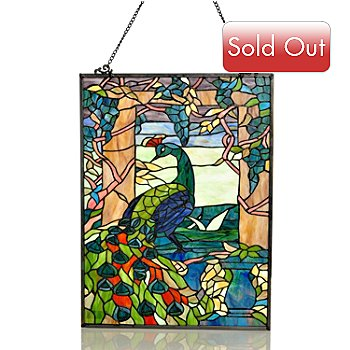 406-041 - Tiffany Style 24.25'' Peacock Stained Glass Window Panel