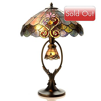 406-119 - Tiffany-Style 27'' Crystal Shell Double-Lit Stained Glass Table Lamp