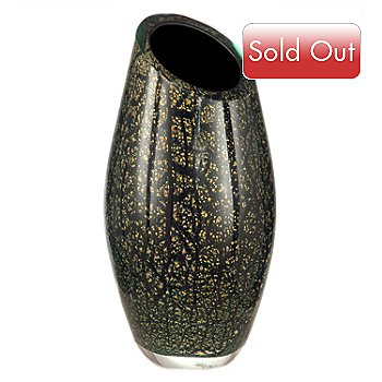 406-241 - Favrile 12.5'' Hand-Blown Art Glass Angled Vase