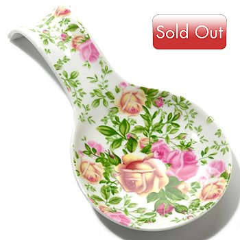 406-334 - Royal Albert® Country Rose 7'' Porcelain Spoon Rest