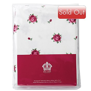 406-355 - Royal Albert® New Country Roses 90'' x 72'' White Cotton Tablecloth