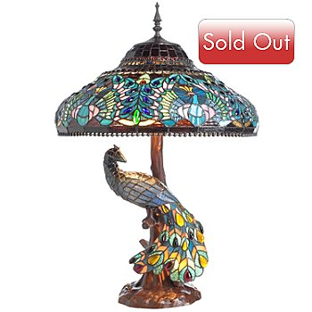 406-551 - Tiffany Style 29.5'' Peacock Stained Glass Double Lit Table Lamp