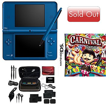 413-901 - Nintendo DSi XL Midnight Blue Bundle w/ System, Carnival Games & DSi XL Travel Kit