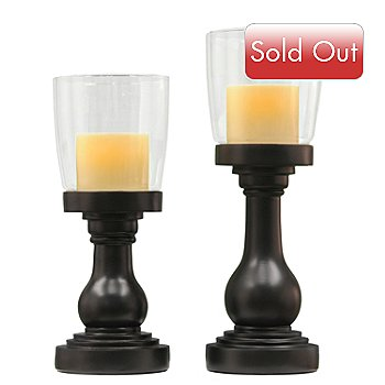 416-291 - Candletek Set of Two Aspen Black Graduated Hurricane Flameless Candles