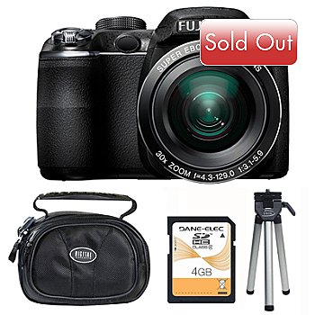 417-347 - Fuji FinePix S4000 14MP Black Digital Camera Bundle w/ Case, 4GB SD Card & Mini-Tripod