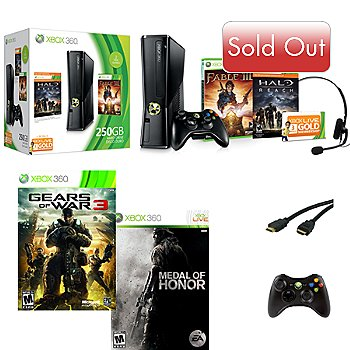 422-680 - Xbox 360 Bundle w/ 250GB Console, Gears of War 3, Medal of Honor, Controller & HDMI Cable