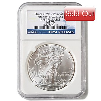 425-992 - 2012 Silver American Eagle West Point Label NGC MS 70 One Dollar Coin