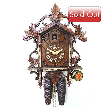 429-196 - Hubert Herr Wooden Inlay Eight-Day Hand Crafted Cuckoo Clock