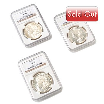 429-324 - Three-Piece 1921 MS 63 Morgan Silver Dollar Set