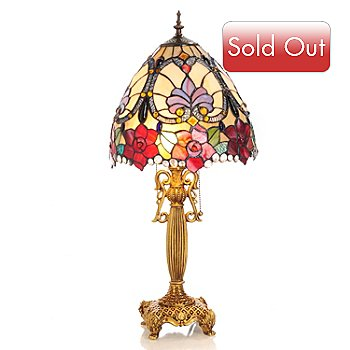 429-418 - Tiffany-Style 28'' Blooming Rosalee Stained Glass Table Lamp