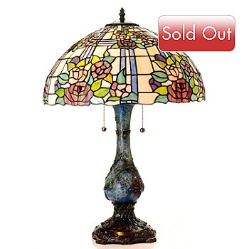 430-257 - Tiffany-Style 26'' Cora Rose Stained Glass Table Lamp