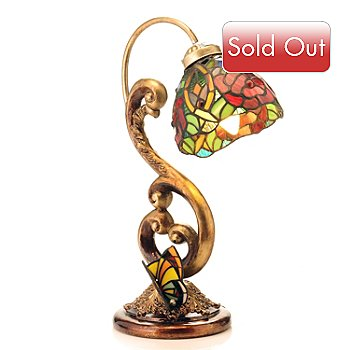 430-261 - Tiffany-Style 18'' Butterfly Kisses Stained Glass Accent Lamp
