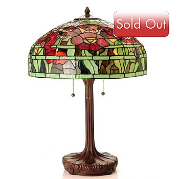 430-268 - Tiffany-Style 25.75'' Oriental Poppy Stained Glass Table Lamp