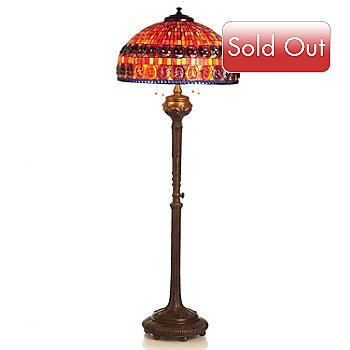 430-273 - Tiffany-Style 68'' Turtleback Stained Glass Floor Lamp