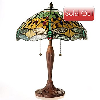 430-275 - Tiffany-Style 21.5'' Hanging Head Dragonfly Stained Glass Table Lamp