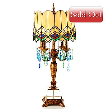 430-299 - 31.25'' Eye of the Peacock Stained Glass Table Lamp