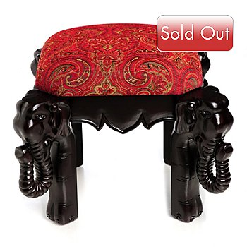 430-398 - Style at Home with Margie Borneo Elephant Wooden Foot Stool