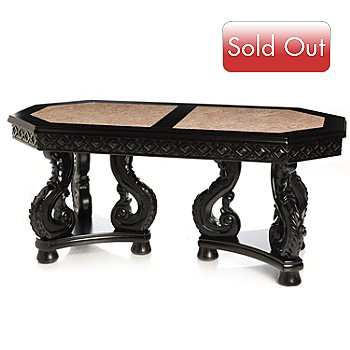 430-403 - Hand Carved Marble Inlay Coffee Table