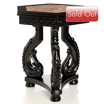 430-404 - Hand Carved Marble Inlay Side Table