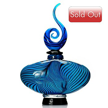 430-478 - Favrile Spider Web 13'' Hand-Blown Art Glass Perfume Bottle Figurine