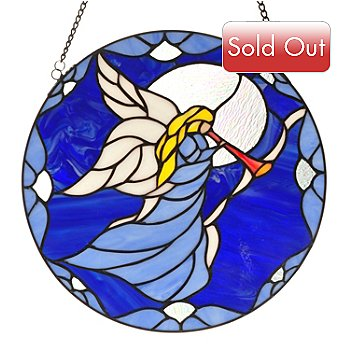 431-040 - Tiffany-Style 14'' Angel's Grace Stained Glass Window Panel