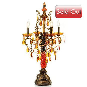 431-042 - 35.5'' Jeweled Amber Table Chandelier